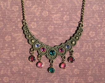 Romantic Green, Pink and Purple Crystal Brass Necklace - 18""