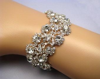Wedding Bracelet, Crystal Bridal Cuff, Silver Rhinestone Jewelry, 35 Satin Ribbon Color Options, Love Forever Bridal Boutique