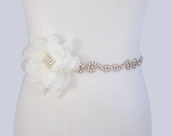 Flower Wedding Dress Sash, Crystal Rhinestone Bridal Belt, Jeweled Beaded Gown Sash,  Ivory Sash, 35 Satin Colors, Something Blue