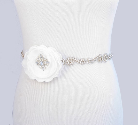 Wedding dress sash crystal rhinestone bridal belt flower for Wedding dress sash with rhinestones
