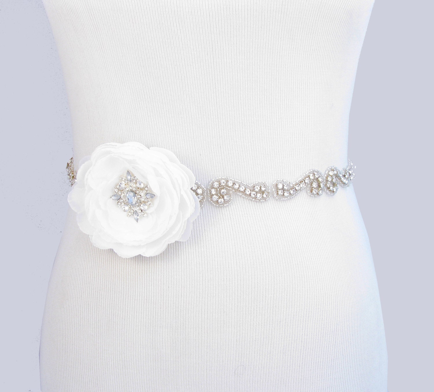 Wedding Dress Sash Crystal Rhinestone Bridal Belt Flower