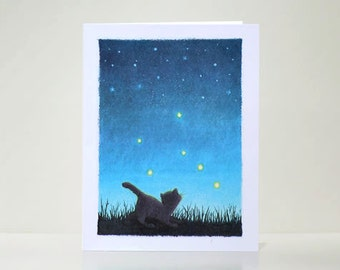 SALE - Night Sky Cat Stargazer Greeting Card