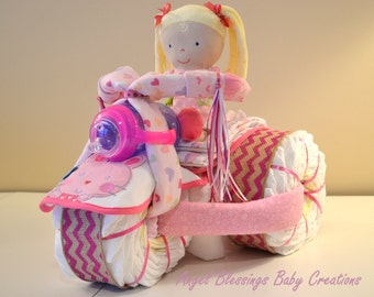 Tricycle Diaper Cake, Baby Shower Centerpiece Made To Order for Girl, Boy, or Gender Neutral, Unique Baby Shower or Welcome Baby Gift