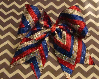 Red Blue and Silver Sequin Chevron Cheer Bow