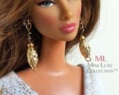 Doll Jewelry for Barbie Doll, Poppy Parker, Silkstone Barbie, Fashion Royalty Dolls -- Miniature Jewelry -- Gold Drop Spiral Earring