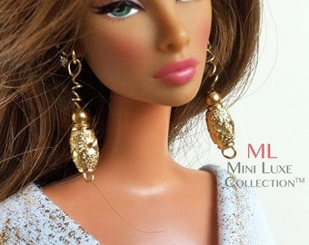 Doll Jewelry for Barbie Doll, Poppy Parker, Silkstone Barbie, Fashion Royalty Dolls -- Miniature Jewelry -- Gold Drop Spiral Earring