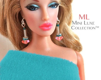 Doll Jewelry | Fashion Royalty Dolls  |  Barbie Dolls | Poppy Parker | Dynamite Girls | Silkstone Barbie | Pink with Turquoise Doll Earrings