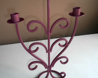 Vintage, Upcycled, Metal, Hand Painted, Candle Holder, Hand Painted, Deep Burgundy