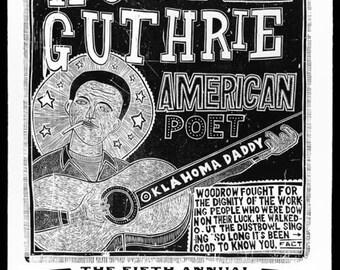 "WOODY GUTHRIE Folk Festival Letterpress Print, 30"" x 42"""