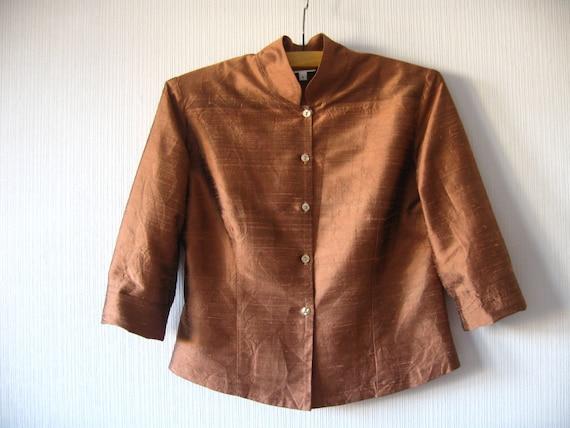 Bronse Brown Jacket Silk Taffeta Cropped 3/4 by ...