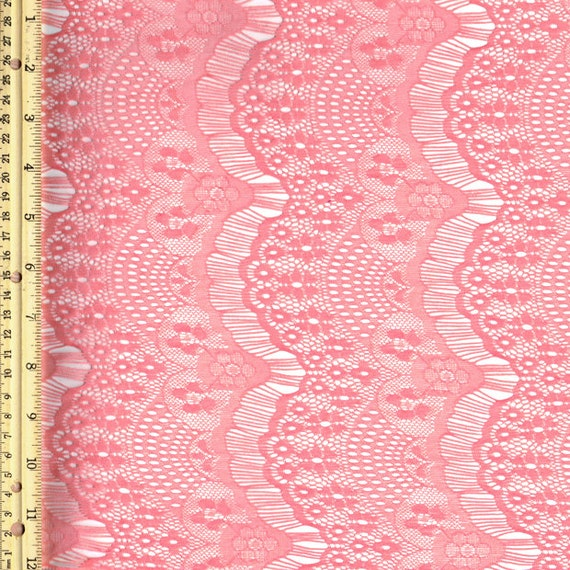 Coral Stretch Eyelash Lace Fabric by the Yard or Wholesale - 1 Yard Style 103