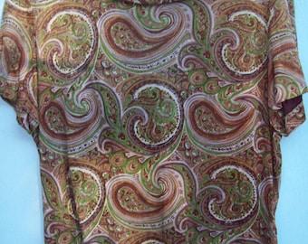 60s knit paisley design top