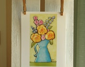 Acrylic Painting Fine Art PRINT - Cottage Chic Decor - Country Garden Flowers in French Blue Pitcher