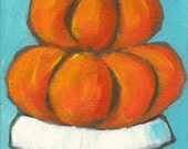 Orange Tower - Fine Art PRINT of Acrylic Painting - Pumpkins Fall Halloween Folk Art Primitive Whimsical Decor
