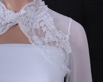 Bridal cover up/ White Lace shrug /jacket  wedding bolero