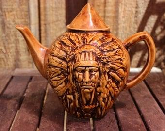 Vintage Canadian Honey Glazed Indian Tea Pot