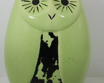 Vintage Mid Century Owl Bank 1960s Green and Black