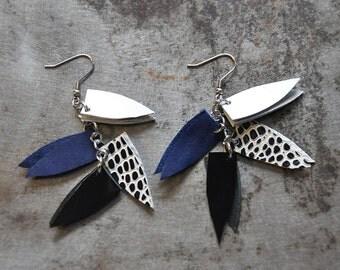 Long triangle earrings, Geometric statement earrings, Leather earrings, Boho ethnic earrings, wife gift, Dangle earrings, Bohemian jewelry