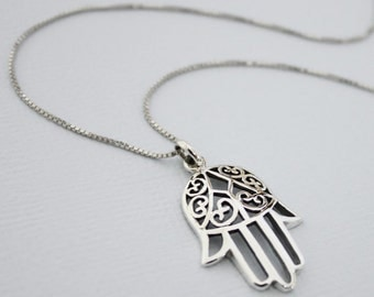 Hamsa Necklace, Gift for Her, Good Luck Charm, Girlfriend Gift, Layering Necklace. Sterling Silver Hamsa Necklace, Hamsa Hand Necklace