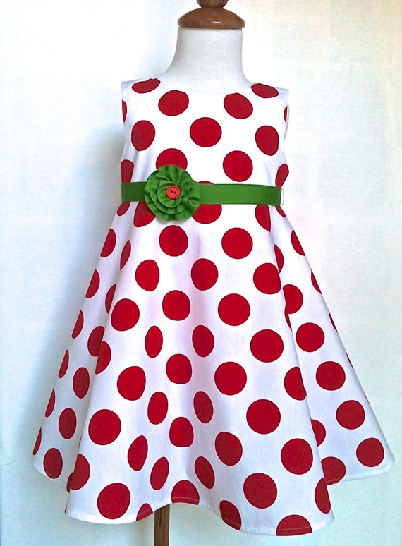 Toddlers christmas dress red and white polka dots sizes 2t 4t only