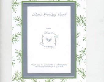 Christmas Wedding Photo Cards Evergreen Branches Foil-embossed  6x8  Box of 10 by Audrey Ascenzo