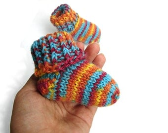 Striped baby socks, autumn colors wool baby booties, handknit for newborn, 3-6 month, 6-12 month, 1-1.5 year