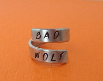 Bad Wolf, Doctor Who Inspired  Aluminum Spiral  Ring, Gift Under 20