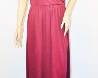 Vintage burgundy knit gown evening dress formal deep cowl back neckline