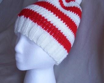 Hand knit Red & White striped hat/beanie