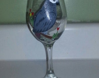 Timneh African Grey wine glass, hand painted