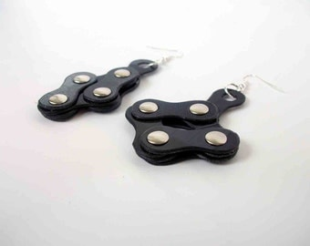 earrings records black original - mechanical chain - elements combined in vinyl chain structure mechanics