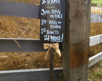 CORNHOLE Rustic Distressed Wood Wedding, Gameday, Party ... Sign with Burlap Bow