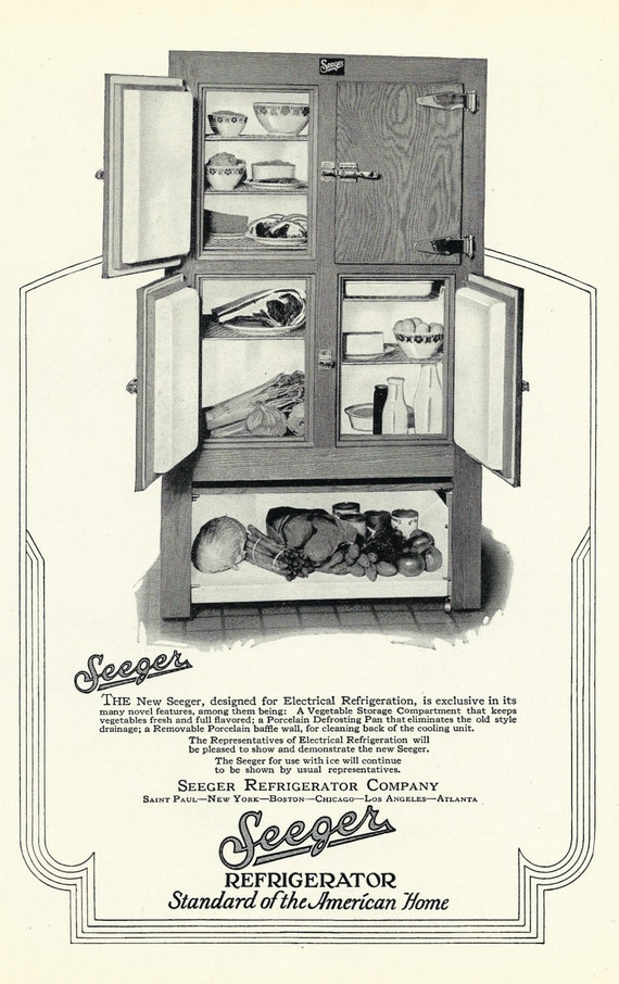 vintage refrigerator ad 1920 39 s antique american seeger. Black Bedroom Furniture Sets. Home Design Ideas
