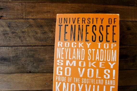 University of Tennessee Distressed Wood Sign--Great Father's Day Gift!