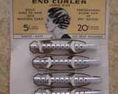 Vintage Metal Hair Curlers on Original Card - Art Deco