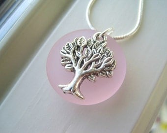 Light Pink Necklace - Tree of Life Jewelry - Pink Pendant Necklace - Light Pink Jewelry - Recycled Glass Necklace - Pink Jewelry