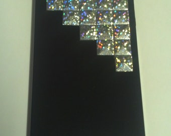 Studded Black iPhone 4 Case, Holographic Hotfix Pyramid Stud iPhone, Stud Case, Black iPhone, Pyramid Studs, Glxy S3 (MORE COLORS Msg Me)