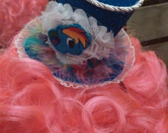 Rainbow Dash inspired mini top hat