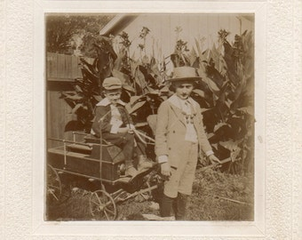 Antique Photo of Two Little Boys with Wagon