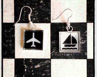 "earrings  ""aero-flotte"" - black and white"