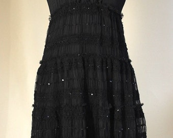 Black lace Dress, SMALL/MEDIUM, recycled vintage lace