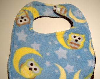 Double Minky Moon Owl Bib - Reversible Super Absorbent Triple Layer - READY TO SHIP - Minky Baby Bib - Owl Bib - Minky Bibs - Baby Bibs