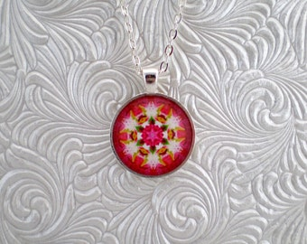 Flower pendant necklace, abstract kaleidoscope pendant necklace