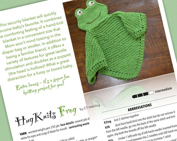 Knitting Pattern HugKnits FROG PDF Security blanket by ...