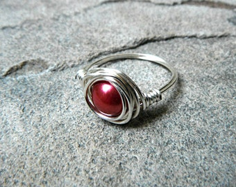 Red Pearl Ring, Wire Wrapped Ring, Red Ring, Pearl Wire Wrapped Ring, Wire Wrapped Jewelry Handmade, Burgundy Ring