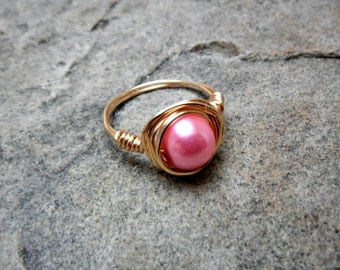 Pink Pearl Ring, Light Gold Ring, Wire Wrapped Ring, Pink Ring, Copper Ring, Wire Wrapped Jewelry Handmade, Pink Pearl Ring