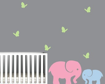 Nursery Elephants Wall Decal with colorful butterflies