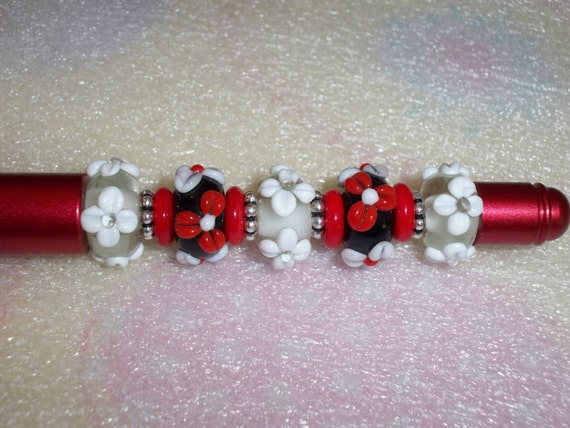 Beaded Pen, Unique Red Pen, Lampwork Red & White Flowers, Graduation Gift Idea