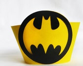 Batman Cupcake Wrappers 12 count Yellow and Black Batman birthday party decorations also available in and Batgirl girl pink