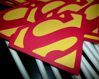 Superman birthday party Cupcake topper sticks 12 Count